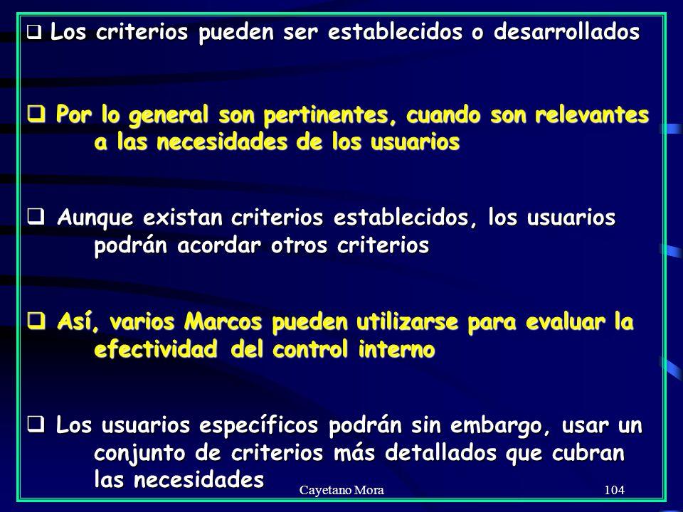 Cayetano Mora104 Los criterios pueden ser establecidos o desarrollados Los criterios pueden ser establecidos o desarrollados Por lo general son pertinentes, cuando son relevantes a las necesidades de los usuarios Por lo general son pertinentes, cuando son relevantes a las necesidades de los usuarios Aunque existan criterios establecidos, los usuarios podrán acordar otros criterios Aunque existan criterios establecidos, los usuarios podrán acordar otros criterios Así, varios Marcos pueden utilizarse para evaluar la efectividad del control interno Así, varios Marcos pueden utilizarse para evaluar la efectividad del control interno Los usuarios específicos podrán sin embargo, usar un conjunto de criterios más detallados que cubran las necesidades Los usuarios específicos podrán sin embargo, usar un conjunto de criterios más detallados que cubran las necesidades