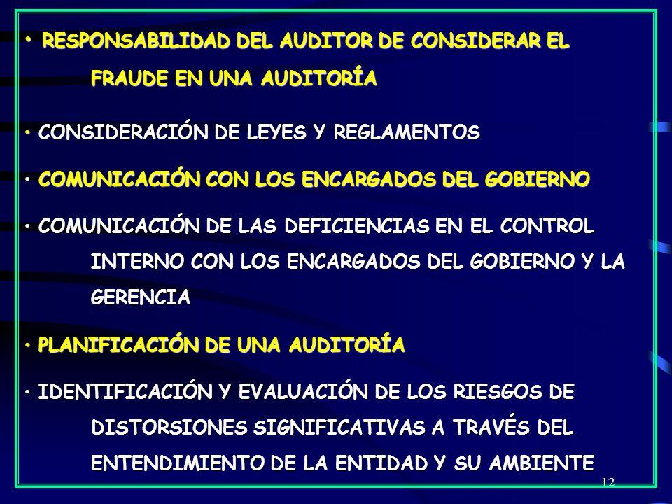12 RESPONSABILIDAD DEL AUDITOR DE CONSIDERAR EL FRAUDE EN UNA AUDITORÍA RESPONSABILIDAD DEL AUDITOR DE CONSIDERAR EL FRAUDE EN UNA AUDITORÍA CONSIDERACIÓN DE LEYES Y REGLAMENTOS CONSIDERACIÓN DE LEYES Y REGLAMENTOS COMUNICACIÓN CON LOS ENCARGADOS DEL GOBIERNO COMUNICACIÓN CON LOS ENCARGADOS DEL GOBIERNO COMUNICACIÓN DE LAS DEFICIENCIAS EN EL CONTROL INTERNO CON LOS ENCARGADOS DEL GOBIERNO Y LA GERENCIA COMUNICACIÓN DE LAS DEFICIENCIAS EN EL CONTROL INTERNO CON LOS ENCARGADOS DEL GOBIERNO Y LA GERENCIA PLANIFICACIÓN DE UNA AUDITORÍA PLANIFICACIÓN DE UNA AUDITORÍA IDENTIFICACIÓN Y EVALUACIÓN DE LOS RIESGOS DE DISTORSIONES SIGNIFICATIVAS A TRAVÉS DEL ENTENDIMIENTO DE LA ENTIDAD Y SU AMBIENTE IDENTIFICACIÓN Y EVALUACIÓN DE LOS RIESGOS DE DISTORSIONES SIGNIFICATIVAS A TRAVÉS DEL ENTENDIMIENTO DE LA ENTIDAD Y SU AMBIENTE