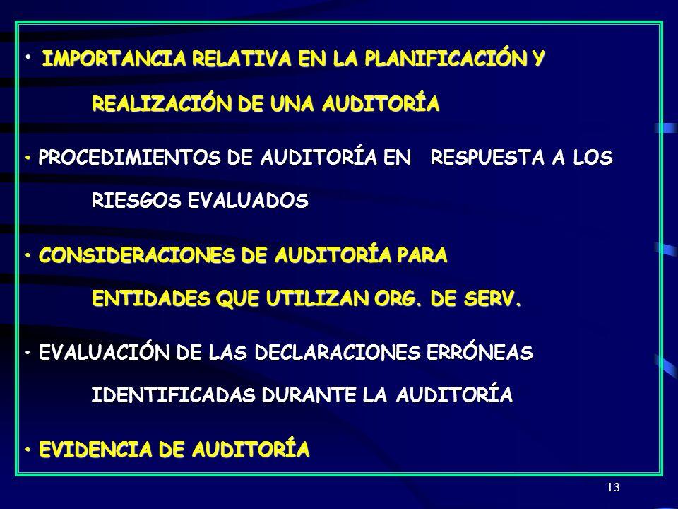 13 IMPORTANCIA RELATIVA EN LA PLANIFICACIÓN Y REALIZACIÓN DE UNA AUDITORÍA PROCEDIMIENTOS DE AUDITORÍA EN RESPUESTA A LOS RIESGOS EVALUADOS PROCEDIMIENTOS DE AUDITORÍA EN RESPUESTA A LOS RIESGOS EVALUADOS CONSIDERACIONES DE AUDITORÍA PARA ENTIDADES QUE UTILIZAN ORG.