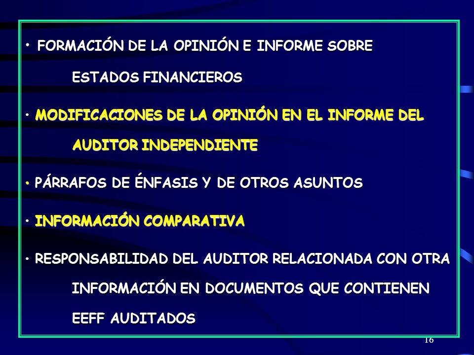 16 FORMACIÓN DE LA OPINIÓN E INFORME SOBRE ESTADOS FINANCIEROS FORMACIÓN DE LA OPINIÓN E INFORME SOBRE ESTADOS FINANCIEROS MODIFICACIONES DE LA OPINIÓN EN EL INFORME DEL AUDITOR INDEPENDIENTE MODIFICACIONES DE LA OPINIÓN EN EL INFORME DEL AUDITOR INDEPENDIENTE PÁRRAFOS DE ÉNFASIS Y DE OTROS ASUNTOS PÁRRAFOS DE ÉNFASIS Y DE OTROS ASUNTOS INFORMACIÓN COMPARATIVA INFORMACIÓN COMPARATIVA RESPONSABILIDAD DEL AUDITOR RELACIONADA CON OTRA INFORMACIÓN EN DOCUMENTOS QUE CONTIENEN EEFF AUDITADOS RESPONSABILIDAD DEL AUDITOR RELACIONADA CON OTRA INFORMACIÓN EN DOCUMENTOS QUE CONTIENEN EEFF AUDITADOS