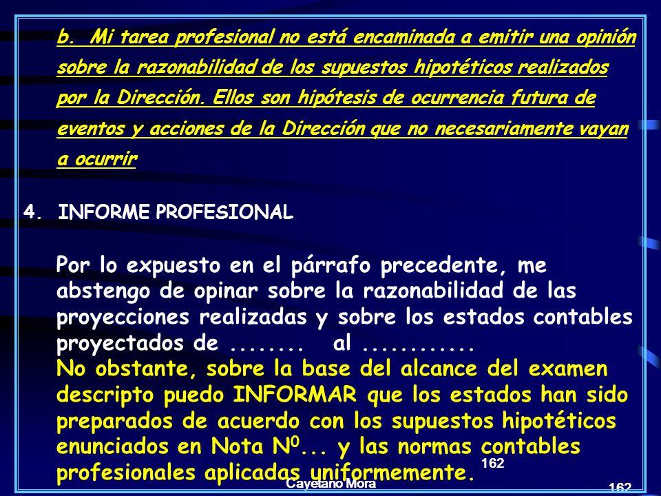 Cayetano Mora 162 b.Mi tarea profesional no está encaminada a emitir una opinión sobre la razonabilidad de los supuestos hipotéticos realizados por la Dirección.