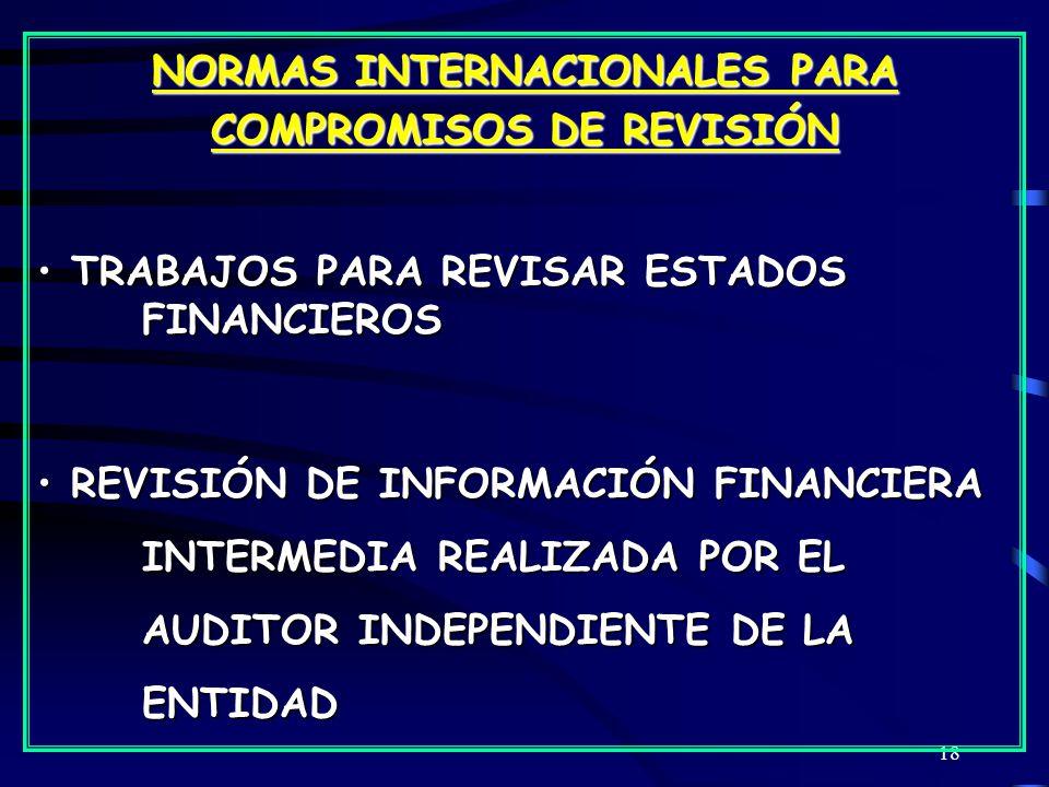 18 NORMAS INTERNACIONALES PARA COMPROMISOS DE REVISIÓN TRABAJOS PARA REVISAR ESTADOS FINANCIEROS TRABAJOS PARA REVISAR ESTADOS FINANCIEROS REVISIÓN DE INFORMACIÓN FINANCIERA INTERMEDIA REALIZADA POR EL AUDITOR INDEPENDIENTE DE LA ENTIDAD REVISIÓN DE INFORMACIÓN FINANCIERA INTERMEDIA REALIZADA POR EL AUDITOR INDEPENDIENTE DE LA ENTIDAD