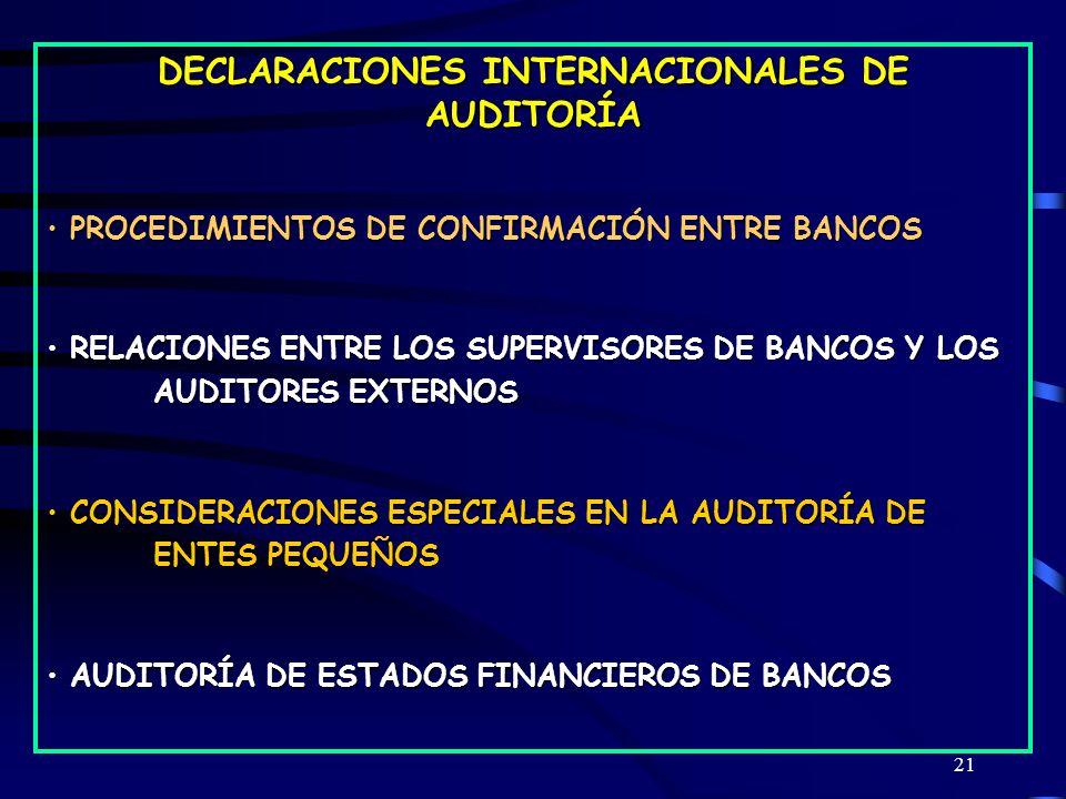 21 DECLARACIONES INTERNACIONALES DE AUDITORÍA PROCEDIMIENTOS DE CONFIRMACIÓN ENTRE BANCOS PROCEDIMIENTOS DE CONFIRMACIÓN ENTRE BANCOS RELACIONES ENTRE LOS SUPERVISORES DE BANCOS Y LOS AUDITORES EXTERNOS RELACIONES ENTRE LOS SUPERVISORES DE BANCOS Y LOS AUDITORES EXTERNOS CONSIDERACIONES ESPECIALES EN LA AUDITORÍA DE ENTES PEQUEÑOS CONSIDERACIONES ESPECIALES EN LA AUDITORÍA DE ENTES PEQUEÑOS AUDITORÍA DE ESTADOS FINANCIEROS DE BANCOS AUDITORÍA DE ESTADOS FINANCIEROS DE BANCOS