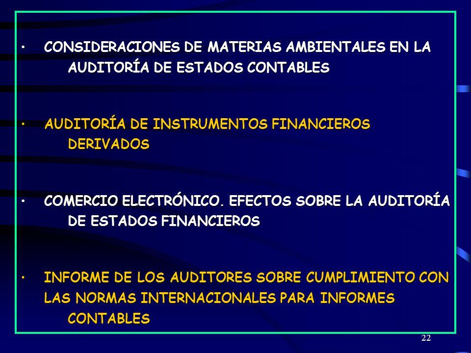 22 CONSIDERACIONES DE MATERIAS AMBIENTALES EN LA AUDITORÍA DE ESTADOS CONTABLESCONSIDERACIONES DE MATERIAS AMBIENTALES EN LA AUDITORÍA DE ESTADOS CONTABLES AUDITORÍA DE INSTRUMENTOS FINANCIEROS DERIVADOSAUDITORÍA DE INSTRUMENTOS FINANCIEROS DERIVADOS COMERCIO ELECTRÓNICO.