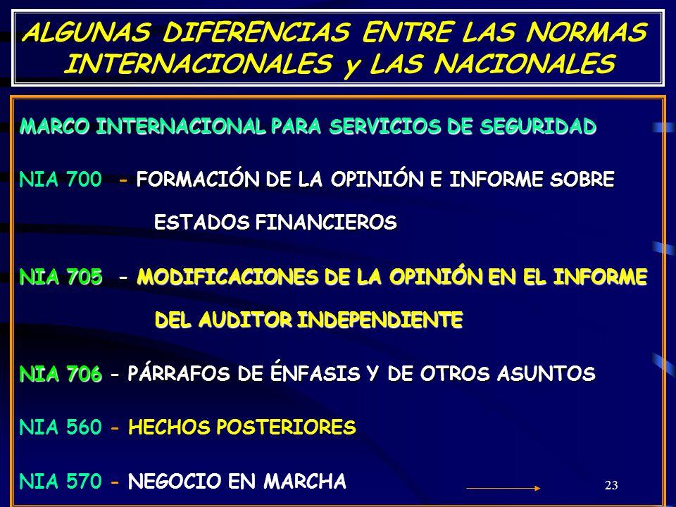 23 ALGUNAS DIFERENCIAS ENTRE LAS NORMAS INTERNACIONALES y LAS NACIONALES MARCO INTERNACIONAL PARA SERVICIOS DE SEGURIDAD FORMACIÓN DE LA OPINIÓN E INFORME SOBRE ESTADOS FINANCIEROS NIA 700 - FORMACIÓN DE LA OPINIÓN E INFORME SOBRE ESTADOS FINANCIEROS NIA 705 - MODIFICACIONES DE LA OPINIÓN EN EL INFORME DEL AUDITOR INDEPENDIENTE NIA 706 - PÁRRAFOS DE ÉNFASIS Y DE OTROS ASUNTOS NIA 560 - HECHOS POSTERIORES NIA 570 - NEGOCIO EN MARCHA