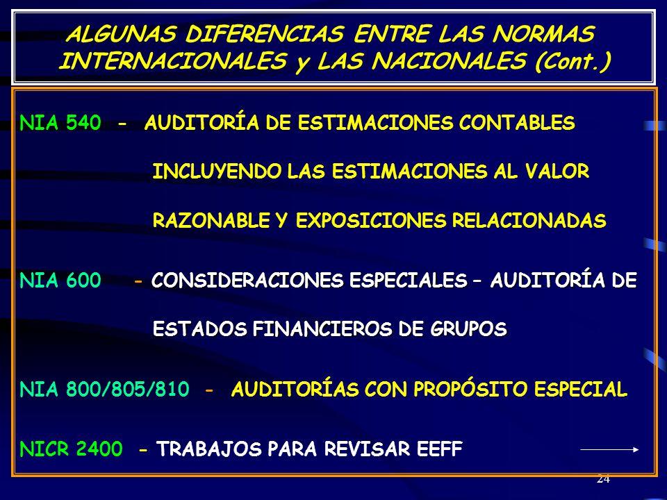 24 ALGUNAS DIFERENCIAS ENTRE LAS NORMAS INTERNACIONALES y LAS NACIONALES (Cont.) NIA 540 - AUDITORÍA DE ESTIMACIONES CONTABLES INCLUYENDO LAS ESTIMACIONES AL VALOR RAZONABLE Y EXPOSICIONES RELACIONADAS CONSIDERACIONES ESPECIALES – AUDITORÍA DE ESTADOS FINANCIEROS DE GRUPOS NIA 600 - CONSIDERACIONES ESPECIALES – AUDITORÍA DE ESTADOS FINANCIEROS DE GRUPOS NIA 800/805/810 - AUDITORÍAS CON PROPÓSITO ESPECIAL NICR 2400 - TRABAJOS PARA REVISAR EEFF