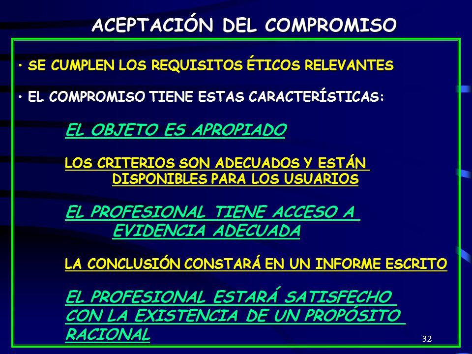 32 SE CUMPLEN LOS REQUISITOS ÉTICOS RELEVANTES SE CUMPLEN LOS REQUISITOS ÉTICOS RELEVANTES EL COMPROMISO TIENE ESTAS CARACTERÍSTICAS: EL COMPROMISO TIENE ESTAS CARACTERÍSTICAS: EL OBJETO ES APROPIADO LOS CRITERIOS SON ADECUADOS Y ESTÁN DISPONIBLES PARA LOS USUARIOS EL PROFESIONAL TIENE ACCESO A EVIDENCIA ADECUADA LA CONCLUSIÓN CONSTARÁ EN UN INFORME ESCRITO EL PROFESIONAL ESTARÁ SATISFECHO CON LA EXISTENCIA DE UN PROPÓSITO RACIONAL ACEPTACIÓN DEL COMPROMISO