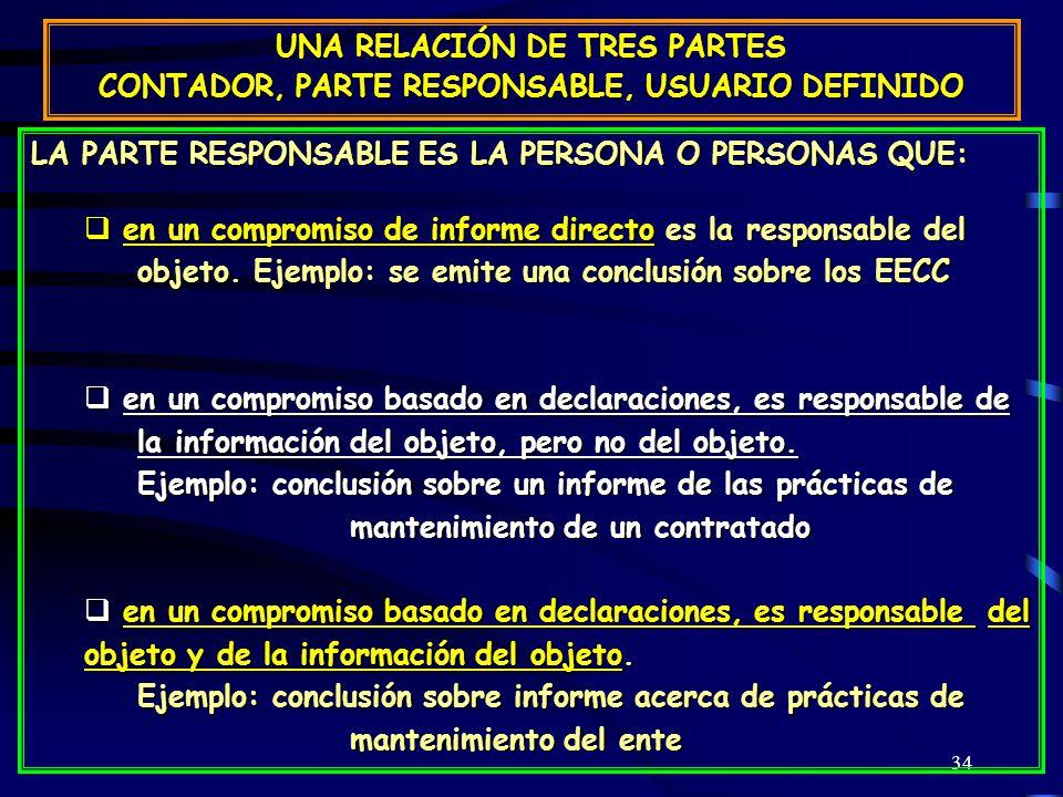 34 UNA RELACIÓN DE TRES PARTES CONTADOR, PARTE RESPONSABLE, USUARIO DEFINIDO LA PARTE RESPONSABLE ES LA PERSONA O PERSONAS QUE: en un compromiso de informe directo es la responsable del objeto.