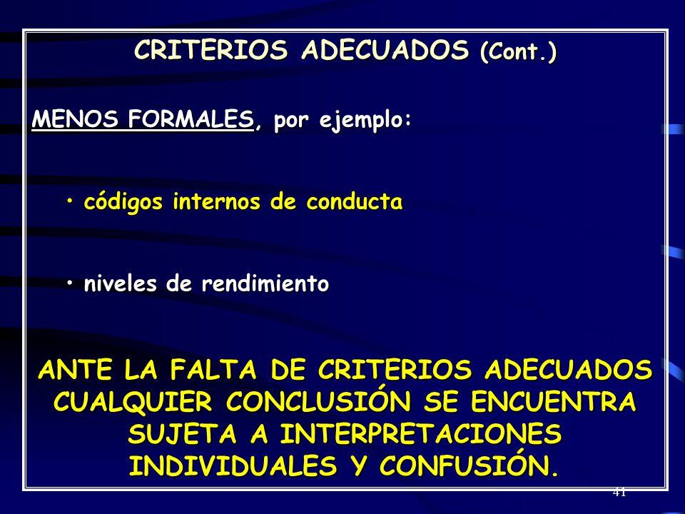 41 CRITERIOS ADECUADOS (Cont.) MENOS FORMALES, por ejemplo: códigos internos de conducta códigos internos de conducta niveles de rendimiento niveles de rendimiento ANTE LA FALTA DE CRITERIOS ADECUADOS CUALQUIER CONCLUSIÓN SE ENCUENTRA SUJETA A INTERPRETACIONES INDIVIDUALES Y CONFUSIÓN.