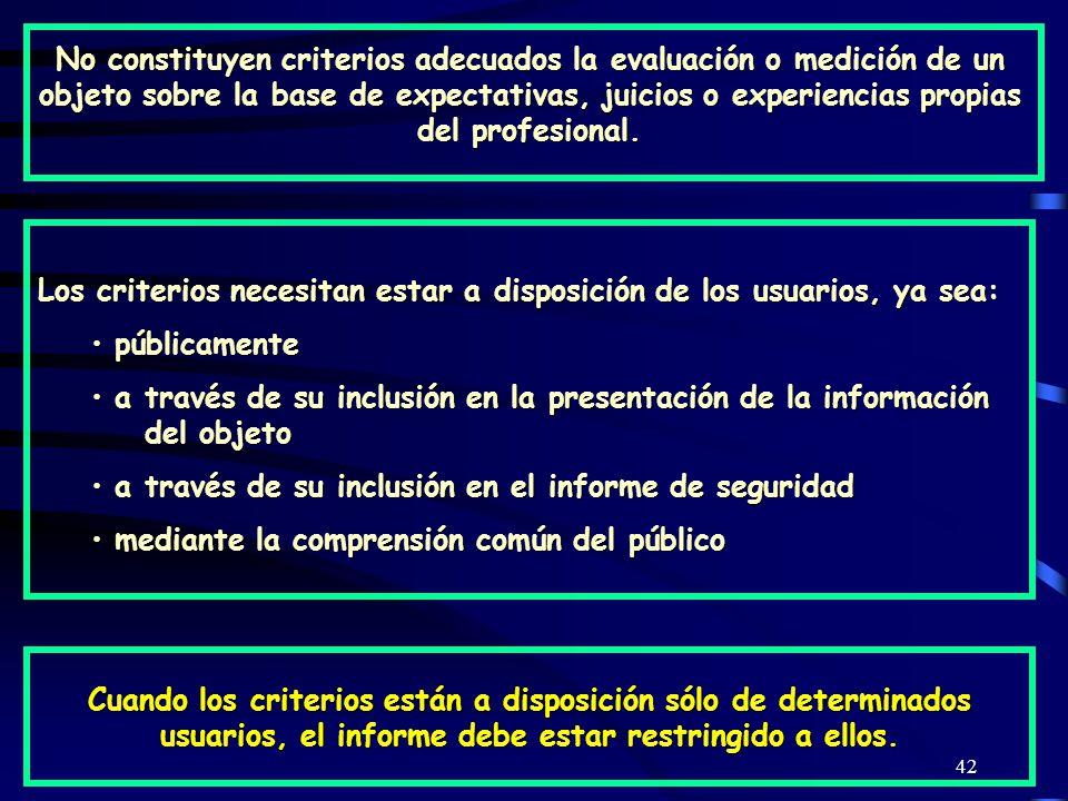 42 No constituyen criterios adecuados la evaluación o medición de un objeto sobre la base de expectativas, juicios o experiencias propias del profesional.