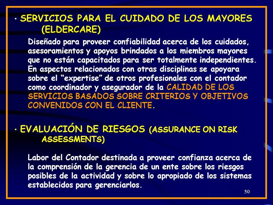 50 SERVICIOS PARA EL CUIDADO DE LOS MAYORES (ELDERCARE) Diseñado para proveer confiabilidad acerca de los cuidados, asesoramientos y apoyos brindados a los miembros mayores que no están capacitados para ser totalmente independientes.