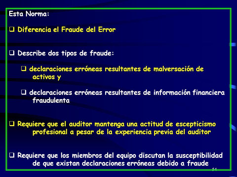 54 Esta Norma: Diferencia el Fraude del Error Describe dos tipos de fraude: declaraciones erróneas resultantes de malversación de activos y declaraciones erróneas resultantes de información financiera fraudulenta Requiere que el auditor mantenga una actitud de escepticismo profesional a pesar de la experiencia previa del auditor Requiere que los miembros del equipo discutan la susceptibilidad de que existan declaraciones erróneas debido a fraude