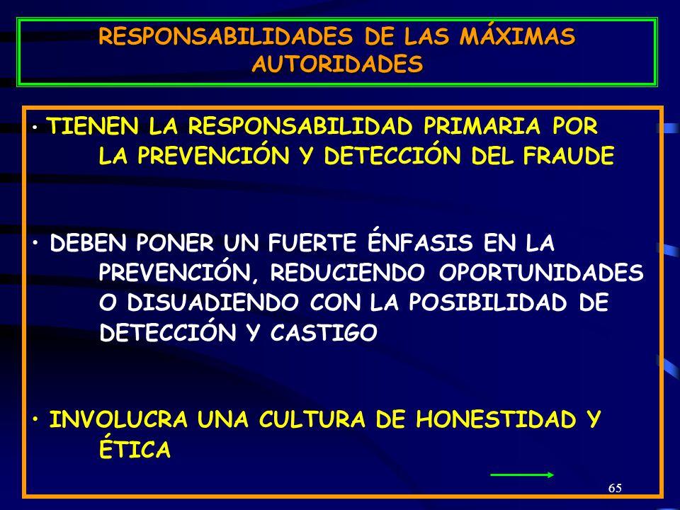 65 TIENEN LA RESPONSABILIDAD PRIMARIA POR LA PREVENCIÓN Y DETECCIÓN DEL FRAUDE DEBEN PONER UN FUERTE ÉNFASIS EN LA PREVENCIÓN, REDUCIENDO OPORTUNIDADES O DISUADIENDO CON LA POSIBILIDAD DE DETECCIÓN Y CASTIGO INVOLUCRA UNA CULTURA DE HONESTIDAD Y ÉTICA RESPONSABILIDADES DE LAS MÁXIMAS AUTORIDADES