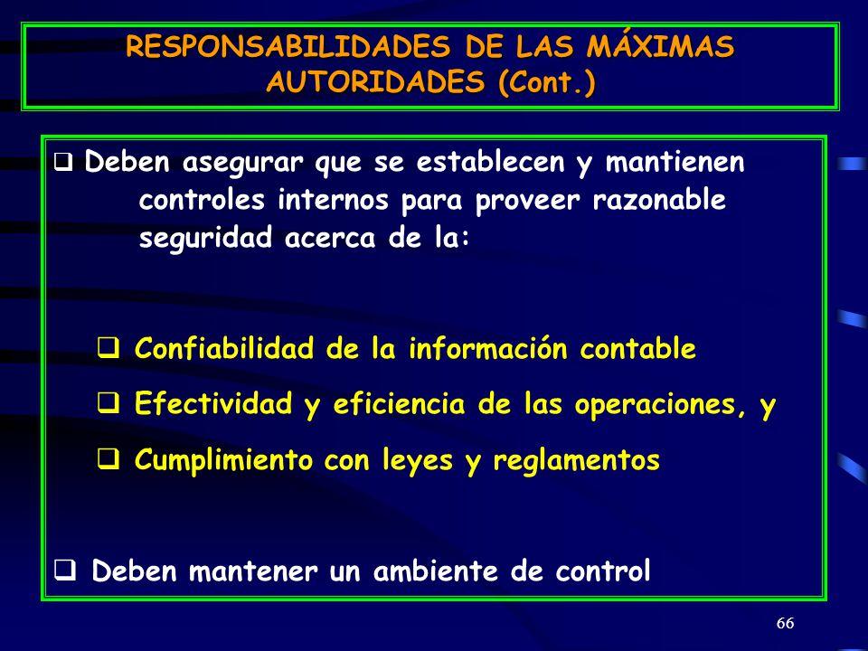 66 Deben asegurar que se establecen y mantienen controles internos para proveer razonable seguridad acerca de la: Confiabilidad de la información contable Efectividad y eficiencia de las operaciones, y Cumplimiento con leyes y reglamentos Deben mantener un ambiente de control RESPONSABILIDADES DE LAS MÁXIMAS AUTORIDADES (Cont.)