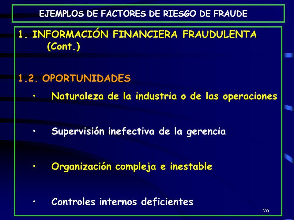 76 1.INFORMACIÓN FINANCIERA FRAUDULENTA (Cont.) 1.2.