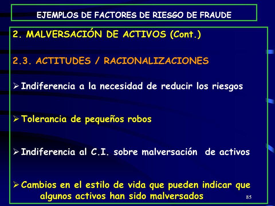 85 2.MALVERSACIÓN DE ACTIVOS (Cont.) 2.3.