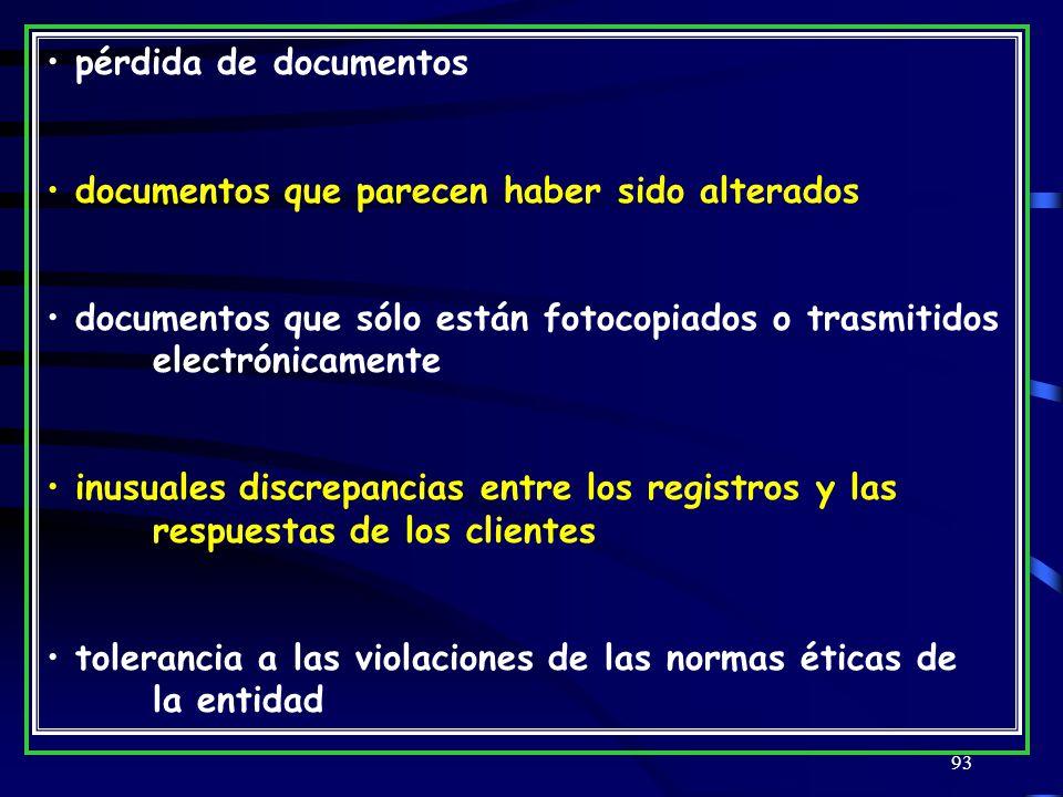 93 pérdida de documentos documentos que parecen haber sido alterados documentos que sólo están fotocopiados o trasmitidos electrónicamente inusuales discrepancias entre los registros y las respuestas de los clientes tolerancia a las violaciones de las normas éticas de la entidad