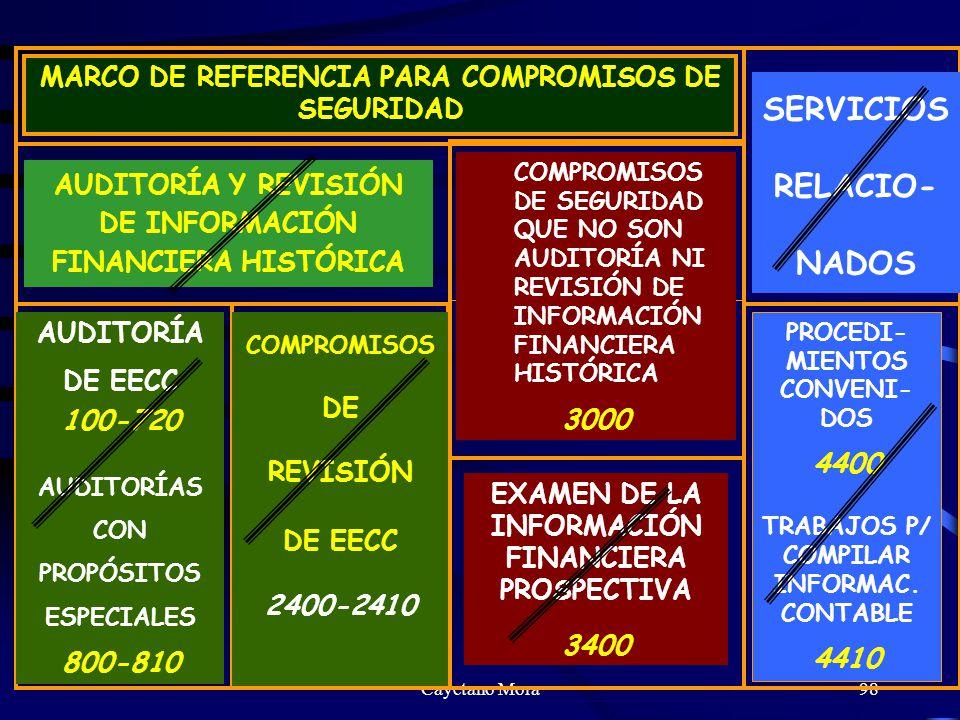 Cayetano Mora98 MARCO DE REFERENCIA PARA COMPROMISOS DE SEGURIDAD AUDITORÍA Y REVISIÓN DE INFORMACIÓN FINANCIERA HISTÓRICA COMPROMISOS DE SEGURIDAD QUE NO SON AUDITORÍA NI REVISIÓN DE INFORMACIÓN FINANCIERA HISTÓRICA 3000 SERVICIOS RELACIO- NADOS AUDITORÍA DE EECC 100-720 AUDITORÍAS CON PROPÓSITOS ESPECIALES 800-810 COMPROMISOS DE REVISIÓN DE EECC 2400-2410 EXAMEN DE LA INFORMACIÓN FINANCIERA PROSPECTIVA 3400 PROCEDI- MIENTOS CONVENI- DOS 4400 TRABAJOS P/ COMPILAR INFORMAC.
