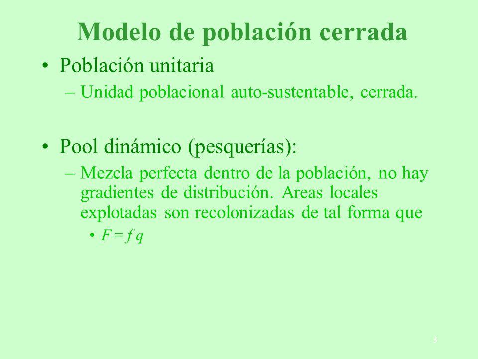 34 Metapoblaciones - Modelos Estructura espacial realista y ocupación: modelos transición-estado –Se utiliza un modelo para estimar las probabilidades de extinción y colonización de diferentes parches (regresión logística) –Se realizan simulaciones en base a las tasas de extinción y colonización de diferentes parches –Son parametrizados en función de datos de extinción y colonización (difíciles de conseguir)
