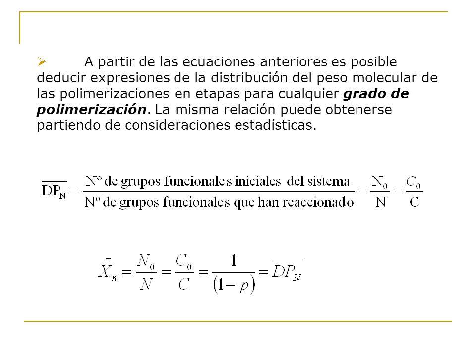 A partir de las ecuaciones anteriores es posible deducir expresiones de la distribución del peso molecular de las polimerizaciones en etapas para cual