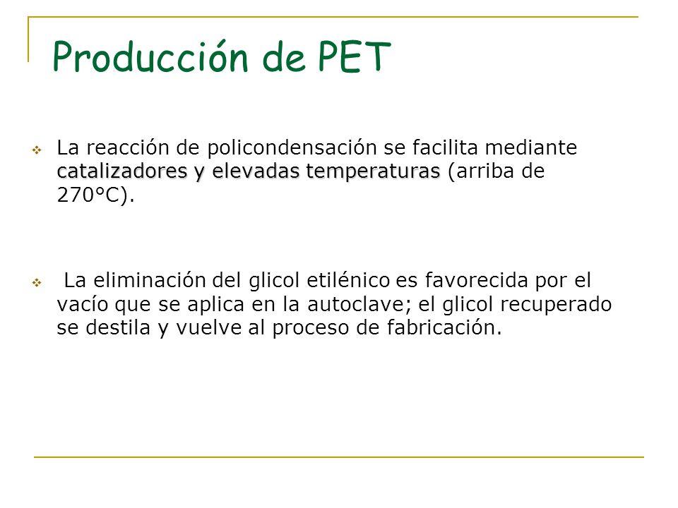 Producción de PET catalizadores y elevadas temperaturas La reacción de policondensación se facilita mediante catalizadores y elevadas temperaturas (ar