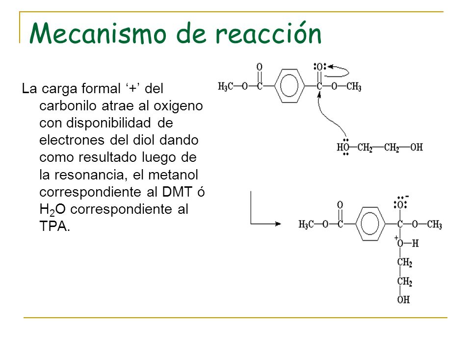 Mecanismo de reacción Del mismo modo ocurre en el otro extremo de la cadena formando el bis-(2-hidroxietil)tereftalato: