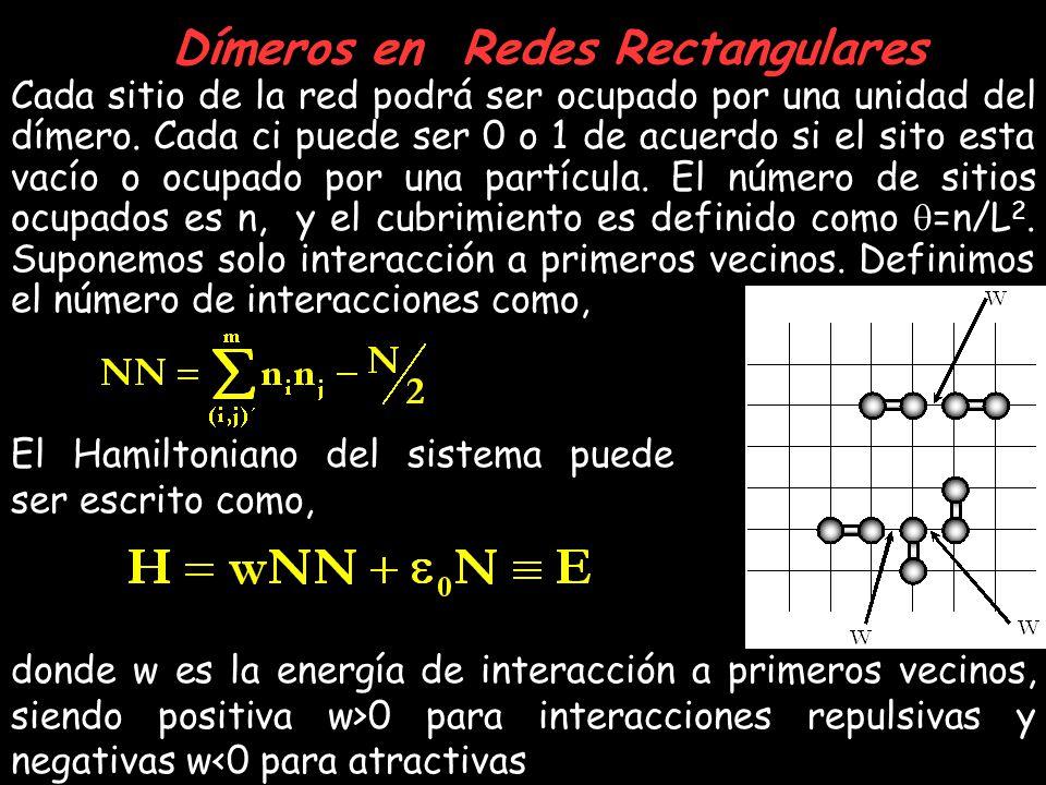 Dímeros en Redes Rectangulares Cada sitio de la red podrá ser ocupado por una unidad del dímero. Cada ci puede ser 0 o 1 de acuerdo si el sito esta va