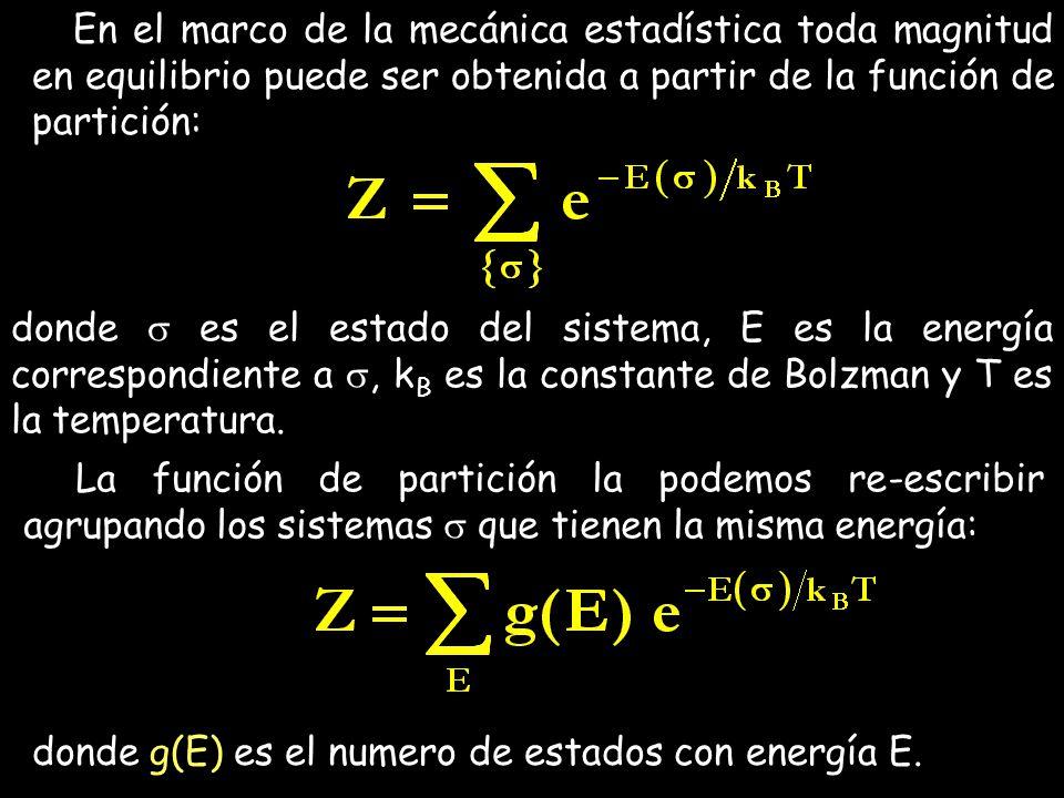 En el marco de la mecánica estadística toda magnitud en equilibrio puede ser obtenida a partir de la función de partición: donde es el estado del sist