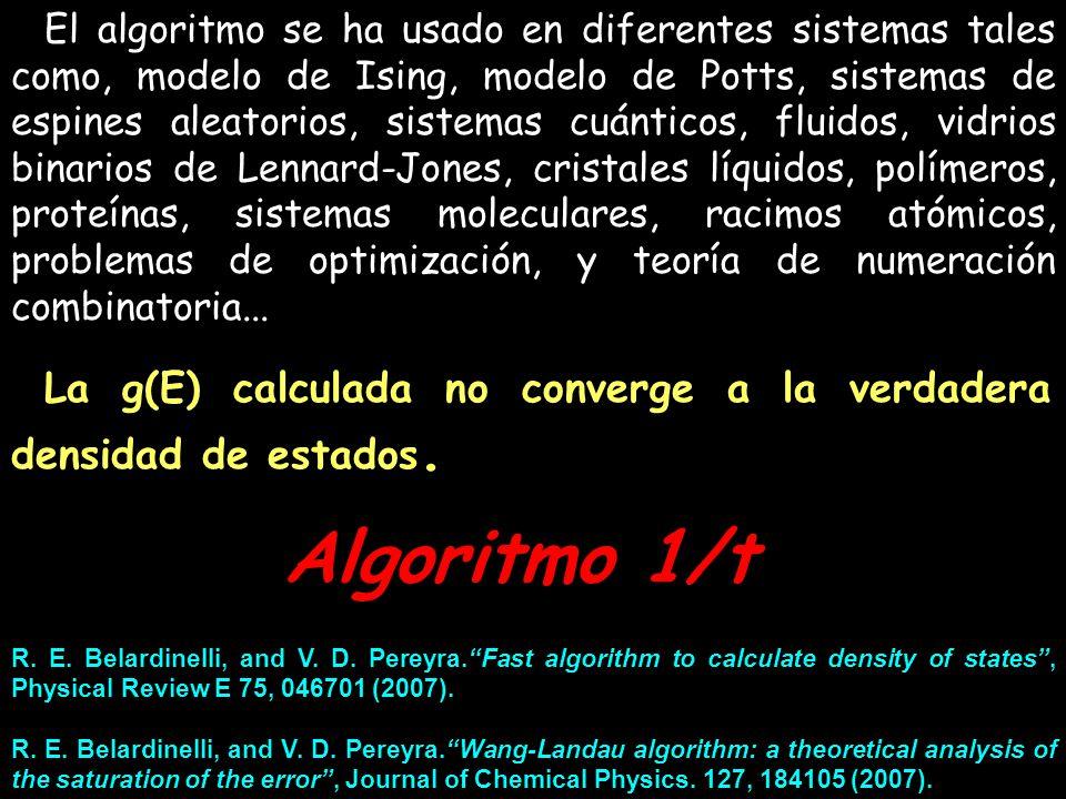 El algoritmo se ha usado en diferentes sistemas tales como, modelo de Ising, modelo de Potts, sistemas de espines aleatorios, sistemas cuánticos, flui
