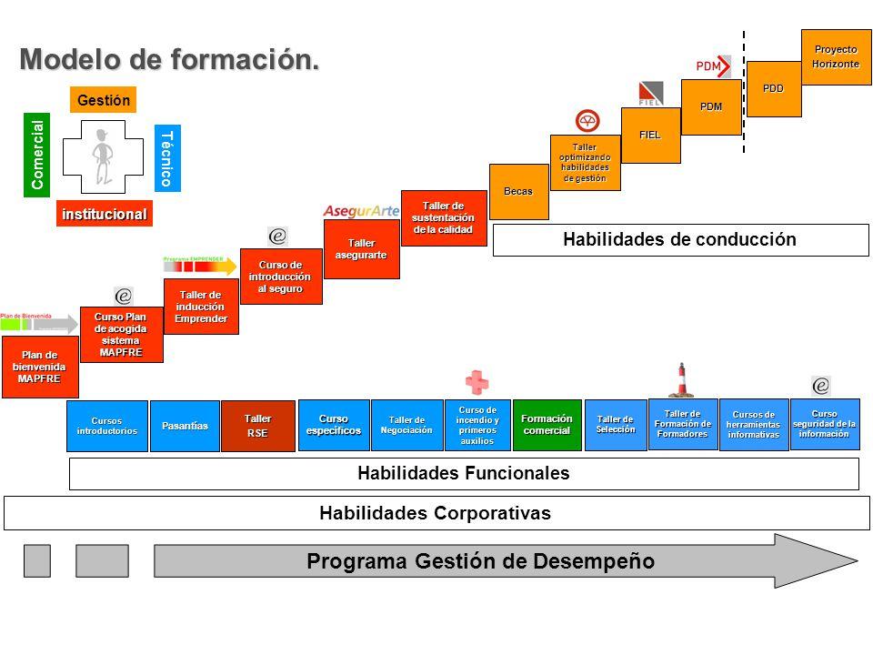 Modelo de formación. Programa Gestión de Desempeño institucional Comercial Técnico Gestión Habilidades de conducción Taller optimizando habilidades de