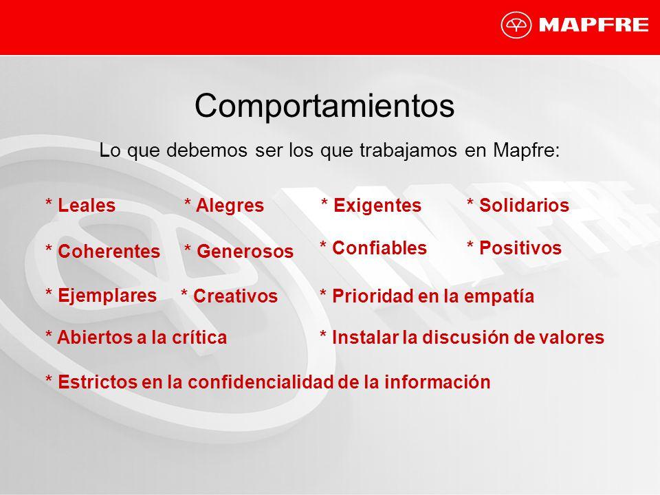 Comportamientos Lo que debemos ser los que trabajamos en Mapfre: * Leales* Alegres* Exigentes* Solidarios * Coherentes * Generosos * Confiables* Posit