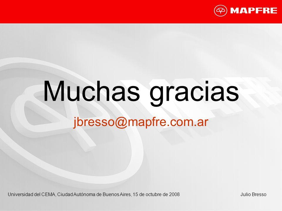 Muchas gracias jbresso@mapfre.com.ar Universidad del CEMA, Ciudad Autónoma de Buenos Aires, 15 de octubre de 2008Julio Bresso