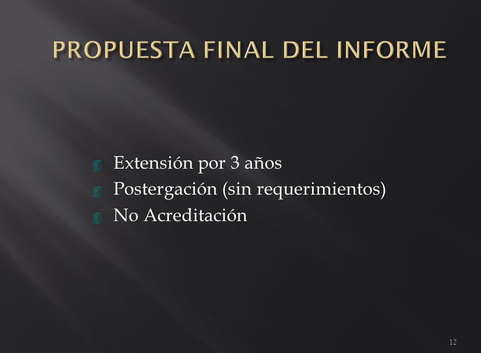 4 Extensión por 3 años 4 Postergación (sin requerimientos) 4 No Acreditación 12