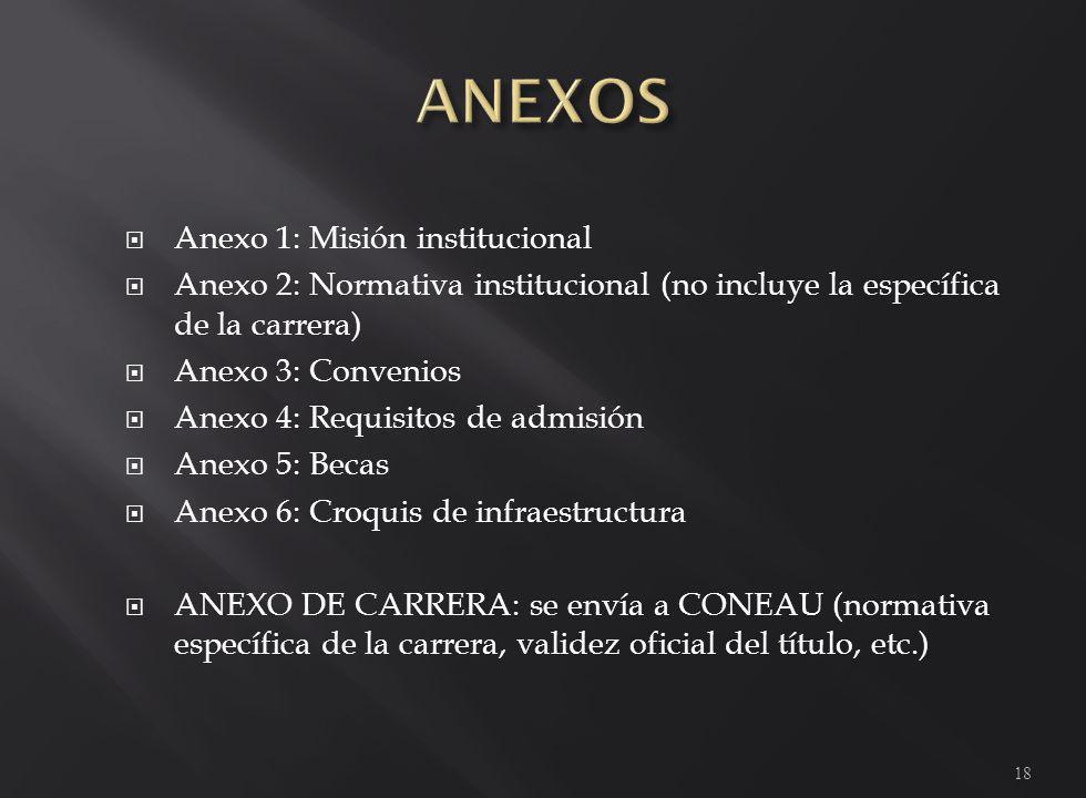 Anexo 1: Misión institucional Anexo 2: Normativa institucional (no incluye la específica de la carrera) Anexo 3: Convenios Anexo 4: Requisitos de admisión Anexo 5: Becas Anexo 6: Croquis de infraestructura ANEXO DE CARRERA: se envía a CONEAU (normativa específica de la carrera, validez oficial del título, etc.) 18