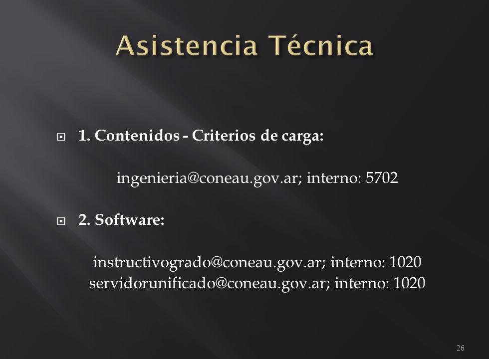 1. Contenidos - Criterios de carga: ingenieria@coneau.gov.ar; interno: 5702 2. Software: instructivogrado@coneau.gov.ar; interno: 1020 servidorunifica