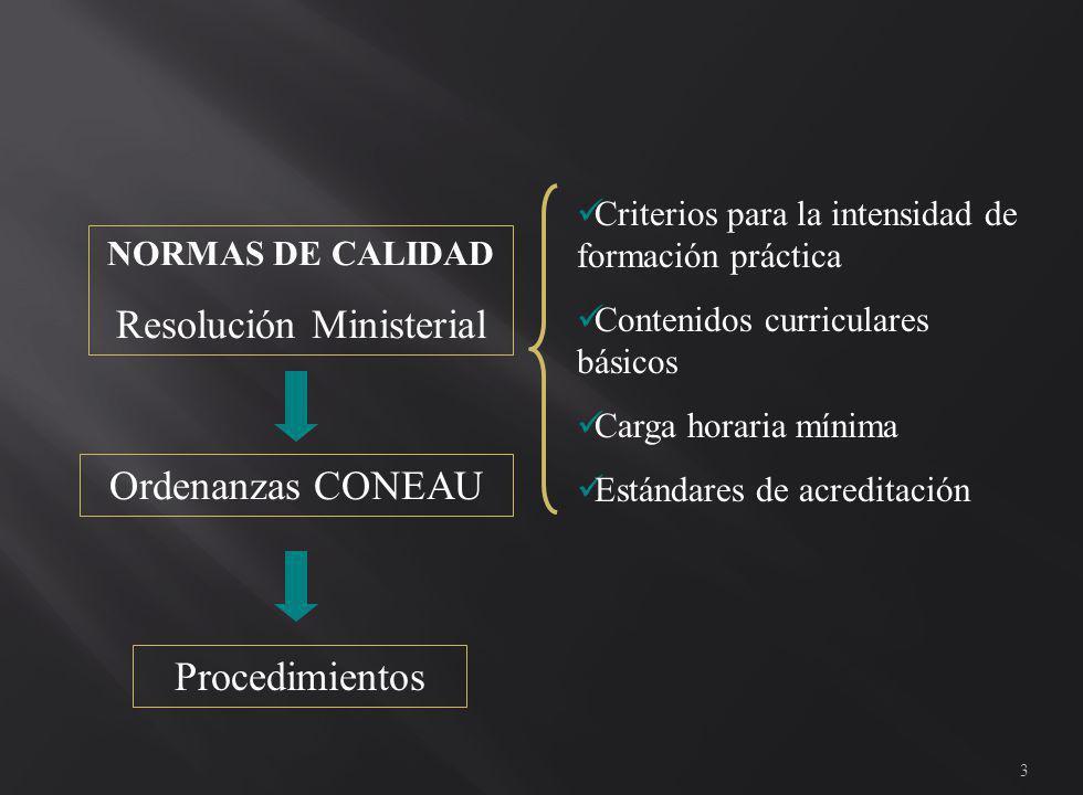 3 NORMAS DE CALIDAD Resolución Ministerial Criterios para la intensidad de formación práctica Contenidos curriculares básicos Carga horaria mínima Estándares de acreditación Ordenanzas CONEAU Procedimientos