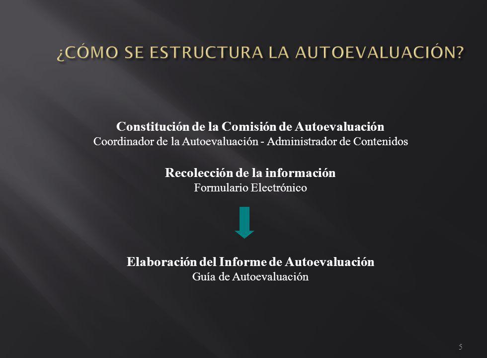 5 Constitución de la Comisión de Autoevaluación Coordinador de la Autoevaluación - Administrador de Contenidos Recolección de la información Formulario Electrónico Elaboración del Informe de Autoevaluación Guía de Autoevaluación