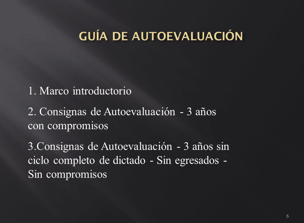 6 1. Marco introductorio 2. Consignas de Autoevaluación - 3 años con compromisos 3.Consignas de Autoevaluación - 3 años sin ciclo completo de dictado