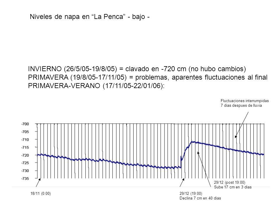 Niveles de napa en La Penca - bajo - INVIERNO (26/5/05-19/8/05) = clavado en -720 cm (no hubo cambios) PRIMAVERA (19/8/05-17/11/05) = problemas, apare