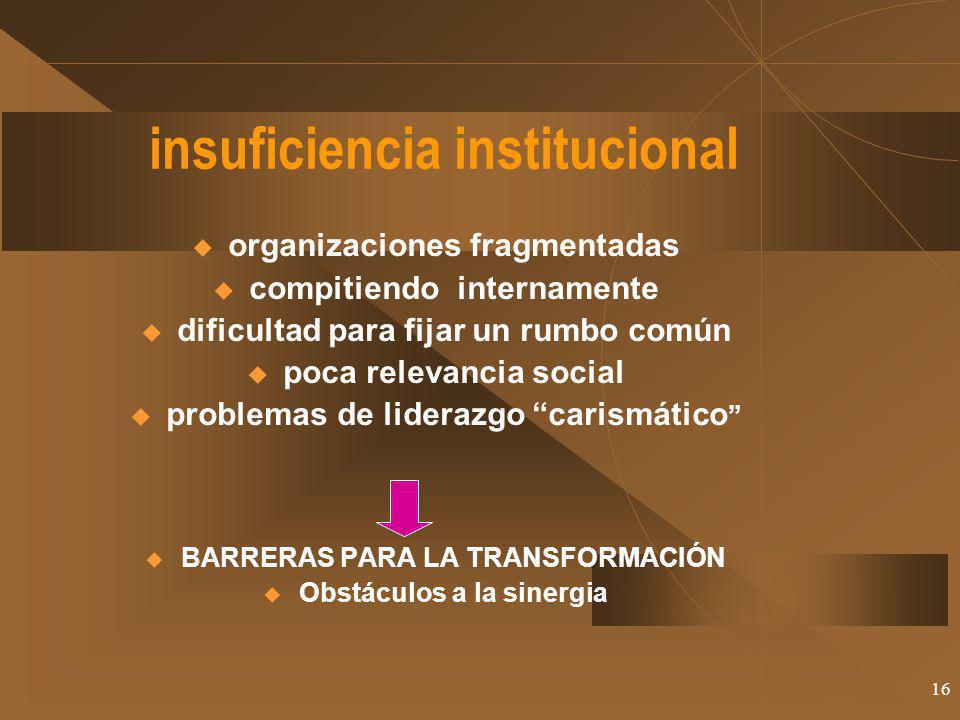 16 insuficiencia institucional organizaciones fragmentadas compitiendo internamente dificultad para fijar un rumbo común poca relevancia social proble