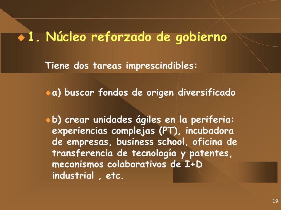 19 1. Núcleo reforzado de gobierno Tiene dos tareas imprescindibles: a) buscar fondos de origen diversificado b) crear unidades ágiles en la periferia
