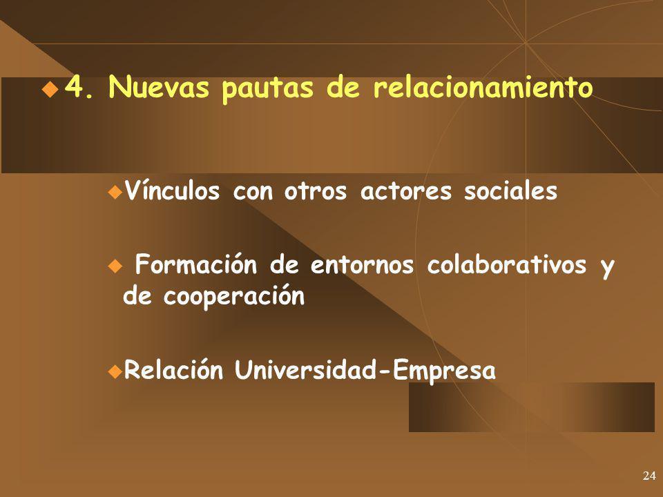 24 4. Nuevas pautas de relacionamiento Vínculos con otros actores sociales Formación de entornos colaborativos y de cooperación Relación Universidad-E