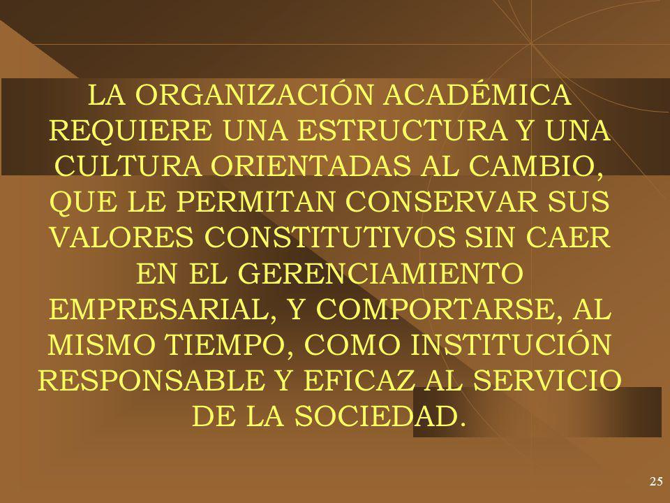 25 LA ORGANIZACIÓN ACADÉMICA REQUIERE UNA ESTRUCTURA Y UNA CULTURA ORIENTADAS AL CAMBIO, QUE LE PERMITAN CONSERVAR SUS VALORES CONSTITUTIVOS SIN CAER EN EL GERENCIAMIENTO EMPRESARIAL, Y COMPORTARSE, AL MISMO TIEMPO, COMO INSTITUCIÓN RESPONSABLE Y EFICAZ AL SERVICIO DE LA SOCIEDAD.