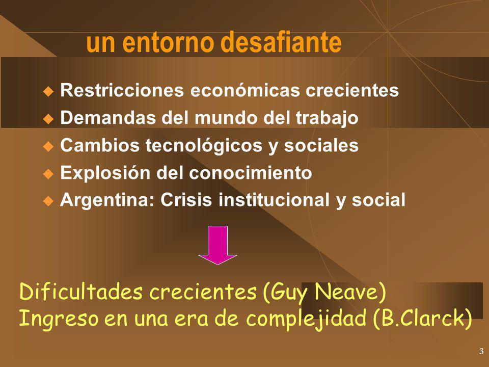 3 un entorno desafiante Restricciones económicas crecientes Demandas del mundo del trabajo Cambios tecnológicos y sociales Explosión del conocimiento Argentina: Crisis institucional y social Dificultades crecientes (Guy Neave) Ingreso en una era de complejidad (B.Clarck)