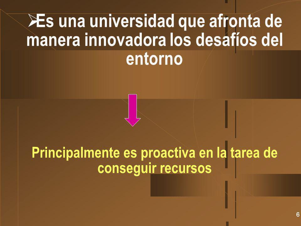 6 Es una universidad que afronta de manera innovadora los desafíos del entorno Principalmente es proactiva en la tarea de conseguir recursos