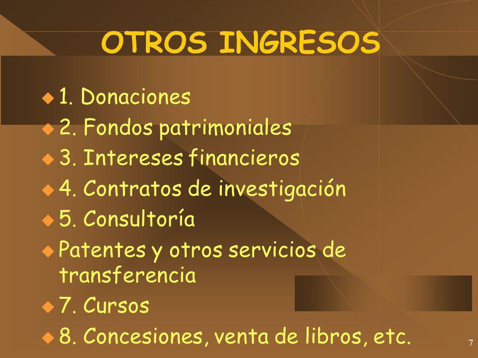 7 OTROS INGRESOS 1. Donaciones 2. Fondos patrimoniales 3. Intereses financieros 4. Contratos de investigación 5. Consultoría Patentes y otros servicio