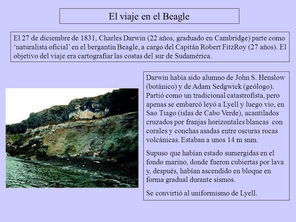 El 27 de diciembre de 1831, Charles Darwin (22 años, graduado en Cambridge) parte como naturalista oficial en el bergantín Beagle, a cargo del Capitán
