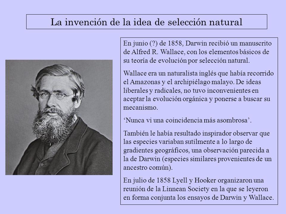 En junio (?) de 1858, Darwin recibió un manuscrito de Alfred R. Wallace, con los elementos básicos de su teoría de evolución por selección natural. Wa