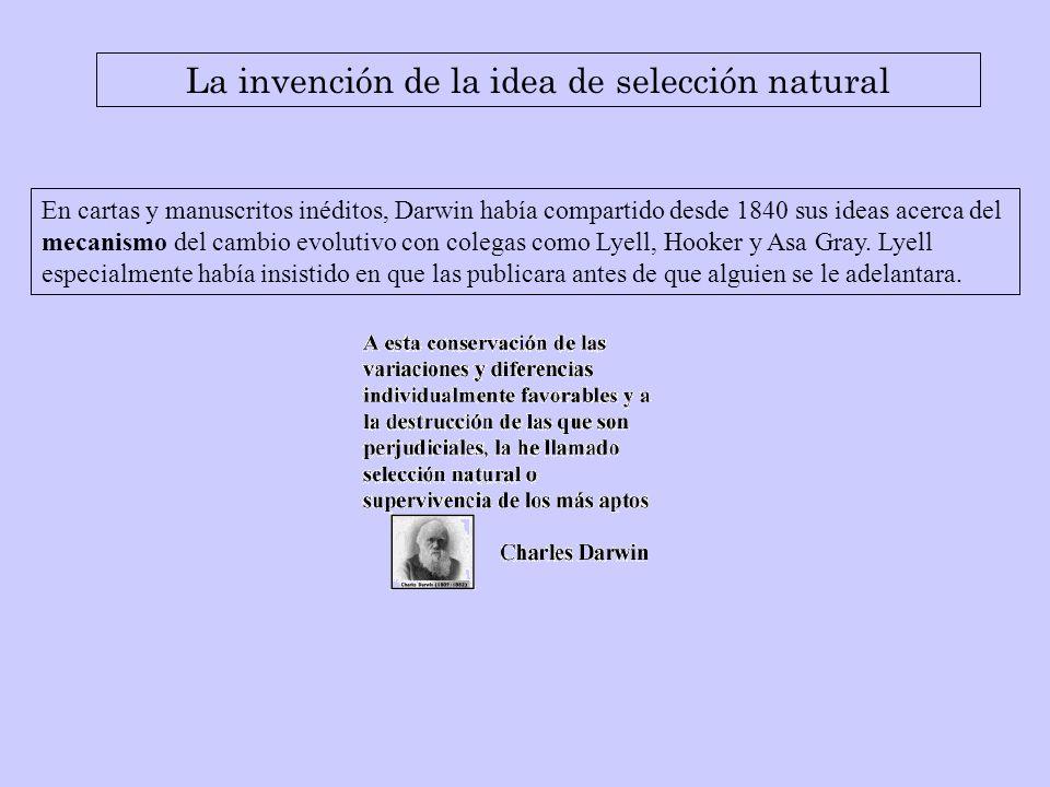 En cartas y manuscritos inéditos, Darwin había compartido desde 1840 sus ideas acerca del mecanismo del cambio evolutivo con colegas como Lyell, Hooke
