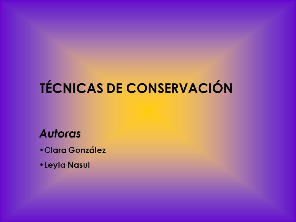TÉCNICAS DE CONSERVACIÓN Autoras Clara González Leyla Nasul